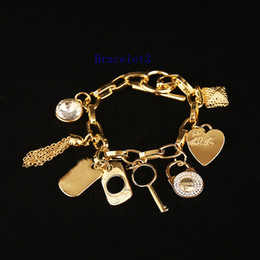 Wholesale Key Clasps - High Quality Pearls Lock key Chains Bracelets Round Key love crystal charms bracelet jewelry silver gold color for men women Fashion Jewelry