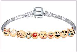 Wholesale Custom Gold Bracelets - 18k Gold Plated 10 Beads Custom Animal Emoji Charm Bracelet jewelry bracelet for women