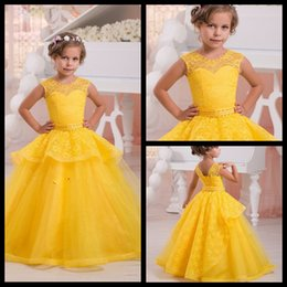 Wholesale Girls Bright Pink Dresses - Bright Yellow Flower Girl Dress Pageant Ball Gowns for Girls Lace Pearls Holy Communion Dresses For Weddings 2017