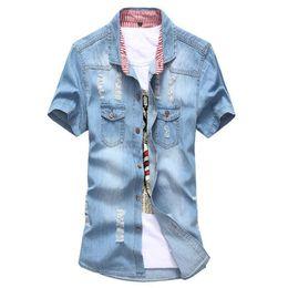 2019 retalhos da sarja de nimes camiseta Atacado-New Men Denim Azul Blusa Camisa Bandeira dos EUA REINO UNIDO Manga Curta Patchwork Camisa Do Vintage Blusa Jean camisas Camisas Da Marca 4 Cores M-3XL retalhos da sarja de nimes camiseta barato