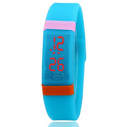 Wholesale Children Candy Bracelet Watch - 2016 Candy Silicone Touch Screen LED Bracelet Digital Watches For Men Ladies Child Clock Womens Wrist Watch Sports Relogio