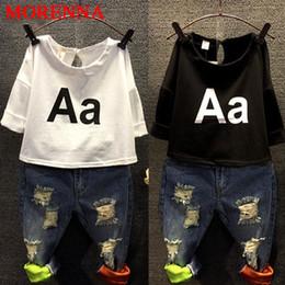 Wholesale 2t Girls Jeans - MORENNA 2017 Girls Clothing Set Kids autumn fashion t shirt + jeans suit Holes denim A letter Children's suits summer Europe NEXT