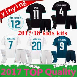 Wholesale Football Shirt Kids Kit - 17 18 KIDS kits Real Madrid soccer jersey 2017 Football shirtS RONALDO Asensio SERGIO MODRIC RAMOS MARCELO BALE ISCO child Soccer Sets
