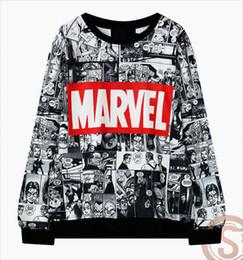 Wholesale Marvel Sweatshirt Top - New Marvel Hip hop Women Sweatshirt Harajuku Tracksuit Printed Pullover Tops Sweatshirts Long Sleeve Casual Fashion Women Sportswear Clothes