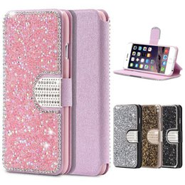 Wholesale galaxy s4 diamond cases - Luxury Full Body Bling Glitter Diamond Silk Pattern Flip Leather Wallet Stand Case For iPhone 5 5S 6 6S Plus Samsung Galaxy S4 S5 S6 S7 Edge