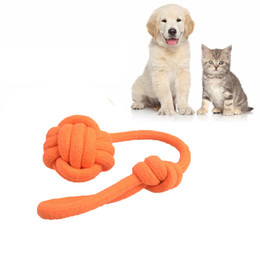 Wholesale Cotton Ball Cat Toy - DHL Free Pet Dog Toys Colorful Durable Cotton Rope Knot Toys Chew Toy for Dog Cat