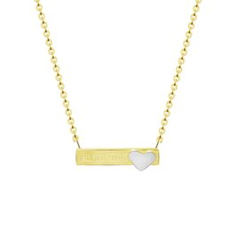 Wholesale Tiny Love Heart Pendant - Wholesale 10Pcs lot 2017 Fashion Stainless Steel Jewelry Pendant All You Need Is Love Long Bar With Tiny Heart Gold Chains Necklaces