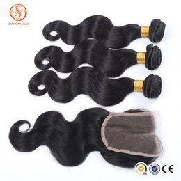 Wholesale Skin Weft Hair Extensions Wholesale - New arrival hair extension 3pcs peruvian hair bundles with 1pcs lace closure body wave peruvian hair wefts tangle free