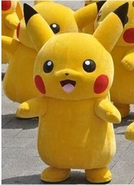 Wholesale Japanese Clothes Free Shipping - Hot Pikachu Mascot Costume Movie Character Pikachu Costumes Yellow Fancy Dress Adult Size Clothing Free Shipping