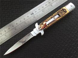 Wholesale Pocket Knives Bone Handle - Microtech Godfather Lever lock knife 440C steel mirror Plain Artificial bone handle EDC Folding blade Folder pocket knives with box