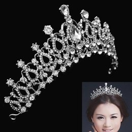Wholesale Headband Pageant Crown - Brand New Bridal Wedding Crystal Rhinestone Hair Headband Crown Comb Tiara Prom Pageant 1 Pc Free Shipping [GF05023]