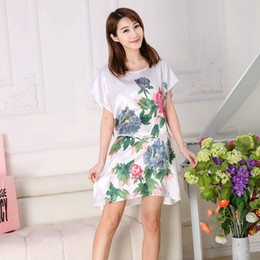 Wholesale Dress Shirt 22 - Wholesale-22 colors Women Pajamas Nightdress Nightgown Home Clothes Sleepwear Faux Silk Robe Dressing Gown Camisa Feminina Pyjamas