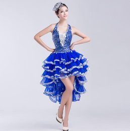 Wholesale Sexy Jazz Costumes - Hot Sales new women latin dance dress sequins dance dress clothes Adult dance performance clothing modern dance jazz dance costumes