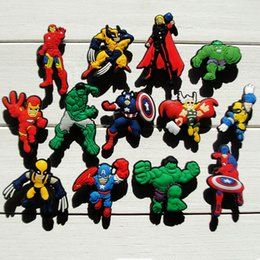 Wholesale Decorations For Shoes Babies - 100Pcs Avengers Supermen PVC Shoe Charms accessories for shoe and bracelets with holes PVC shoe charms for kids and baby