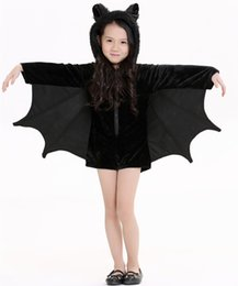 Wholesale Dressed Female Child - Children 's Halloween Children' s Bat Dress Cos-play Children 's Performance Costumes Party Lovely Short Paragraph Flannel Dress
