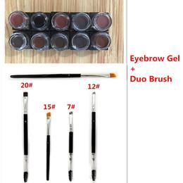 Wholesale New Gel Colors - New 10 Colors Pomade Brow Waterproof Eyebrow Liner Eyes Cosmetic Beauty Long lasting Eyebroe Gel & Duo Eyebrow Brushes 7# 12# 15# 20#