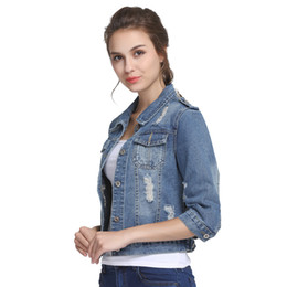 Wholesale 5xl Light Jacket - Plus Size 5XL 6XL Summer Denim Jacket Women 2017 Three Quarter Slim Cotton Light Washed Short Jeans Jacket Coats