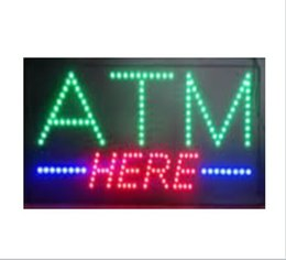 Wholesale Opening Flash - 20PCS Lot , wholesale price ,19''x10''x0.5' Animated flashing come with on off button Multicolor led open sign board LED ATM here sign