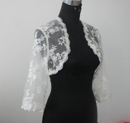 Wholesale Long Sleeve Ivory Lace Shrug - Lace Bridal Jacket Bolero 3 4 Long Sleeves Wedding Jacket Bolero Shrug White Ivory Custom Made Lace Jacket Bolero