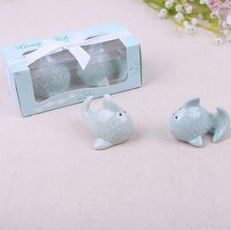 "Wholesale Kissing Fish Shaker - ""The Perfect Pair"" Kiss Fish Ceramic Salt & Pepper Shaker Wedding Favors Gifts Souvenir Blue Cute 100SETS=200PCS"