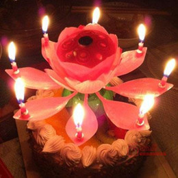Wholesale Lotus Flowers Lighting Decoration - 2pcs New Arrival musical lotus flower candles happy birthday candle for cake Party Gift Rotating Lights Decoration