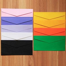 Wholesale Envelopes For Greeting Cards - 50pcs Envelopes Paper Envelopes 220*105mm Color Envelopes Colorful Baby Gift Craft Envelopes for Wedding Letter Invitations Papelaria