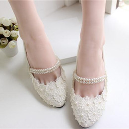 Wholesale Custom Made Heels For Women - White Lace Applique Wedding Shoes Pearl Beads Ankle Strap 2015 Bridal Shoes Cheap Custom Made Heel Height Flat Women Shoes for Wedding