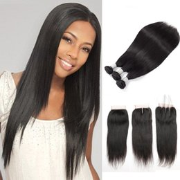 Wholesale Synthetic Peruvian Weave - Brazilian Silky Straight 3 Bundles with Closure Unprocessed Virgin Human Hair Weave Bundles with Lace Closure free middle three part