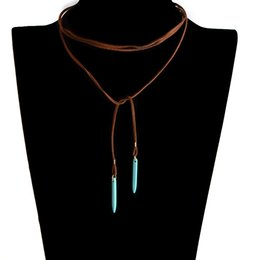 Wholesale Brown Stone Pendant - Brown Leather Long Necklace Natural Green Stone Pendant DIY Choker Collar Jewelry Vintage Bowknot Cool Necklaces For Women Girls