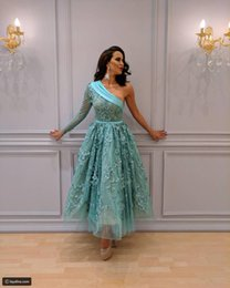 Wholesale turquoise sexy dresses - 2017 Turquoise Prom Dresses vestido de festa One Shoulder Long Sleeved 3D Florals A Line Tea Length Lace Party Gowns Real Images