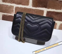 Wholesale Cluth Bags - Free Shipping Mini Heart Cluth Brand Marmont Shoulder Bag Women Genuine Leather Crossbody Messenger Bag Chain Belt 476433