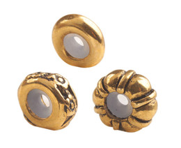 Wholesale Gold Stopper Bracelet - free shipping 12 PCS Fashion Antiqued Gold Metal Rubber Stopper Beads fits 3mm Charm Bracelet #92591-92593