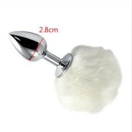 Wholesale Anal Bunny Tail - Small Size 7*2.8cm Stainless Steel Metal Sexy Rabbit Tail Anal Plug Bunny Pompon Butt Plug Unisex Sex Products Sex Toy for Women