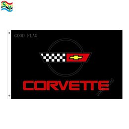 Wholesale Polyester Car Flags - GoodFlag Free Shipping Corvette RACING black car flags banner 3X5 FT 90*150CM Polyster Outdoor Flag