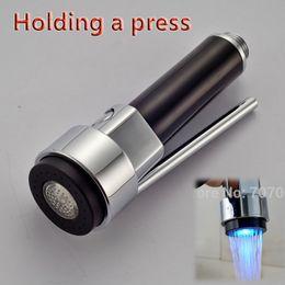 Wholesale Kitchen Faucet Spray Spout - Free Shipping Kitchen Faucet Pull-Out Spray Head Replacement Spout with LED Light Chrome Finish