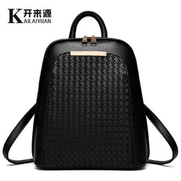Wholesale New Crochet Bags Designs - Knitting Women Backpack New Design Brand High Quality PU Leather Backpacks Female Woven Mochila Fashion School Bags for Teenagers Girls