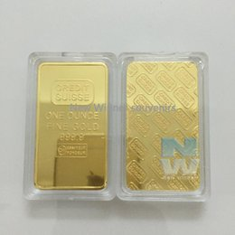 Wholesale Wholesale Gold Bullion Bars - 10pcs lot Free shipping CREDIT SUISSE 1oz 24ct Gold Plated Layered Bullion Bar Ingot Replica coin+Switzerland Fake Gold Bar