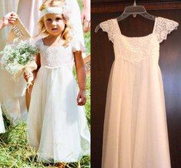 Wholesale Cute Girl Christmas Cap - 2017 White Cute Flower Girls Dresses Capped Sleeves Lace Tulle Wedding Party For Little Girls Pageant Gowns Custom Made