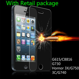 Wholesale Huawei G615 - 0.33mm Tempered Glass Film For iPhone 6 6s 6 plus 6s plus Toughened Protective film for Huawei G615 C8816 G730 Hornor 3X G750 3C G740