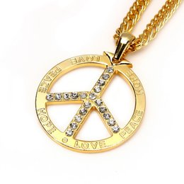 Wholesale Gold Peace Sign Necklaces - 2016 Popular Peace Sign Pendant Rhinestone Diamond Pendant Necklace Jewelry Hiphop Gift To Women Hipster Necklace