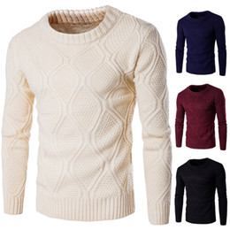 Wholesale Thick Winter Sweaters Men - Solid Color Sweater Famous Brand Designer Winter Thick Long Sleeve Pullover Sweater for Men with 100% Cotton