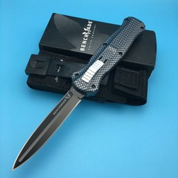 Wholesale Auto Aluminum - New Benchmade 3300 3310 Infidel Carbon pattern handle D2 Spear-point Double blade Auto Dual action Tactical knife dagger Camping knives