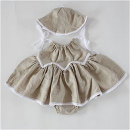 Wholesale Swing Baby Clothes - Summer Baby Clothes ,Swing Baby Girls Dress Set , Linen cotton swing baby grirls dress set,Baby Swing Top Bloomer Set With hat
