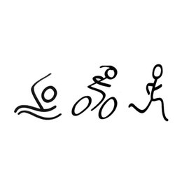 Wholesale Swimming Mirror - Creative Fashion Simple Triathlon Sticker Swim Bike Run Automotive Styling Vinyl Decals JDM