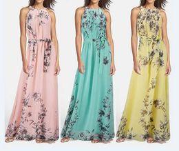 Wholesale Wholesale Chiffon Long Length Dresses - Fashion New Women Dress Floral Print Sleeveless Ladies Long Maxi Chiffon Dress Girls Bohemian Beach Dress Plus Size With Belt