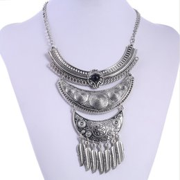 Wholesale Statement Necklace Vintage Leaves - Wholesale-2016 Fashion Choker Collares Maxi Statement Necklaces & Pendants Bohemian Jewelry Vintage Leaves Accessories Ethnic Fine Jewelry
