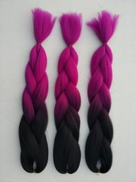 Wholesale High Temperature Fiber Hair Extensions - Ombre kanekalon red braiding hair 24'' 5pcs100g synthetic high temperature fiber jumbo braid hair extension free shipping