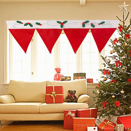 Wholesale Decorative Curtain For Doors - Door Window Curtain Christmas Decorative Curtain Home House Decorations for Xmas Party New Year Santa Claus Hat Cap WA0939