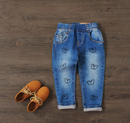 Wholesale 4t Girls Skinny Jeans - New Cotton Jeans Baby Girls Fashion Denim Jeans Girls Butterfly-embroidery Jeans Kids Spring Autumn Trousers Child Long Pants