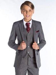 Wholesale Boy White Tuxedo Suit Wedding - Boys Children Formal Wedding Flower Kid's Groom Tuxedos Graduation Party Suits